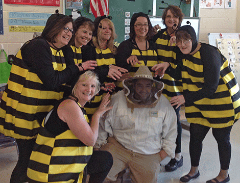 Sharon Miller's BOCES classroom at Lawrence Avenue Elementary in Potsdam were busy bees on Halloween. Their beekeeper helped them get their work done for the day. Brenda Schober, Cheryl Lashway, Sandy Foster, Amy Narrow, Sharon Miller, Lori kingrey, Jackie Willmart and the beekeeper Andrew Stahl.