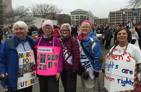 Canton residents Kathy Crowe, Mary Ellen Carvel, Susan Hayden, Jo DenBleyker, and Marsha Akins were among the marchers.