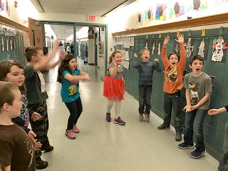 A cooperative team-building game in Sarah Bullard's class