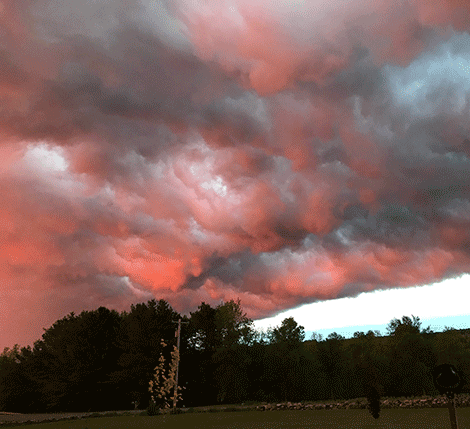 The storm cloud moves over the Bucks Bridge area near Madrid around 8:30 p.m. Photo by Peggy Murphy.
