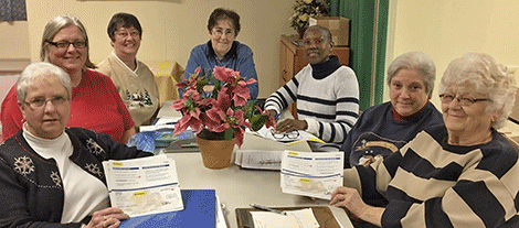 Canton-Potsdam Hospital employees recently donated $780.00 in food voucher certificates to the Norwood-Norfolk-Raymondville Outreach Food Bank Program. From left, outreach board members Mickey McKenna, Kelly Lustyik, Judy Chagnon, Pat Martin, Laurell Brault, Marcia Murray and Barb Lustyik.