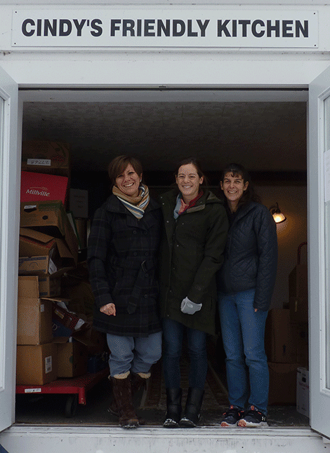 Colton Pierrepont Central School donated a truckload of food to Helping Hands from a holiday food drive. Above are CPCS staff Becky Henderson-Howie, Enriko Gilbert and Lori Fisher.