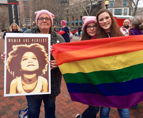 Mechelle, Grace & Maggie Marta were among the St. Lawrence County residents at the march.