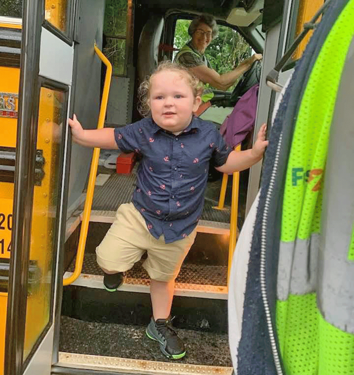 Grayson, age 3, is above getting on the bus for his first day of school in Canton. Photo submitted by his aunt, Chelsea McBain.