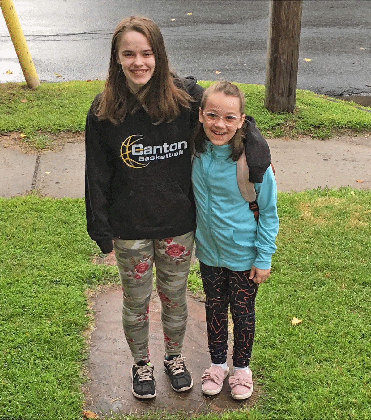 Emma, eighth grade, and Aaliyah, fifth grade, are pictured before the first day of school at middle school at Canton Central. Photo submitted by Teresa Oney.