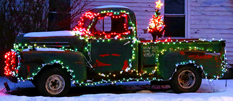 The couple decorated this 1950 Ford truck.