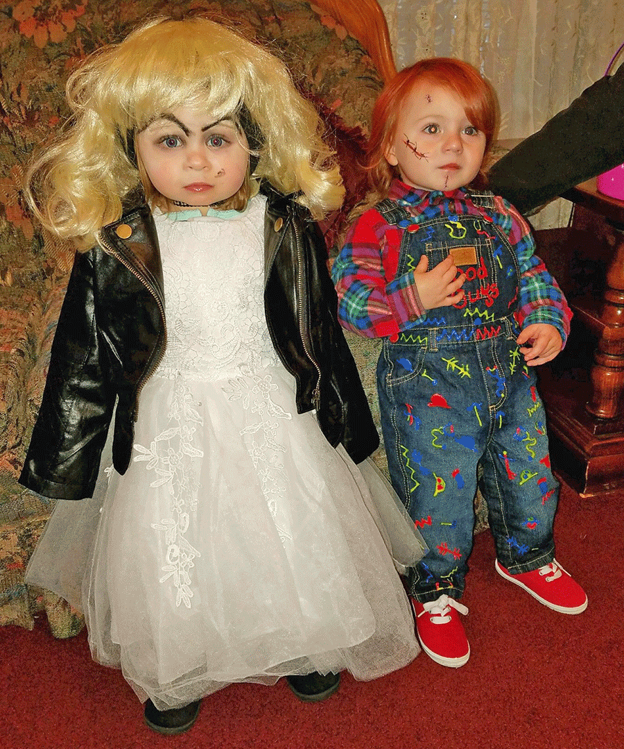 One-year old first cousins and best friends Eden Hammond and Zachary O'Malia looked killer as Chucky and his bride Tiffany this Halloween.