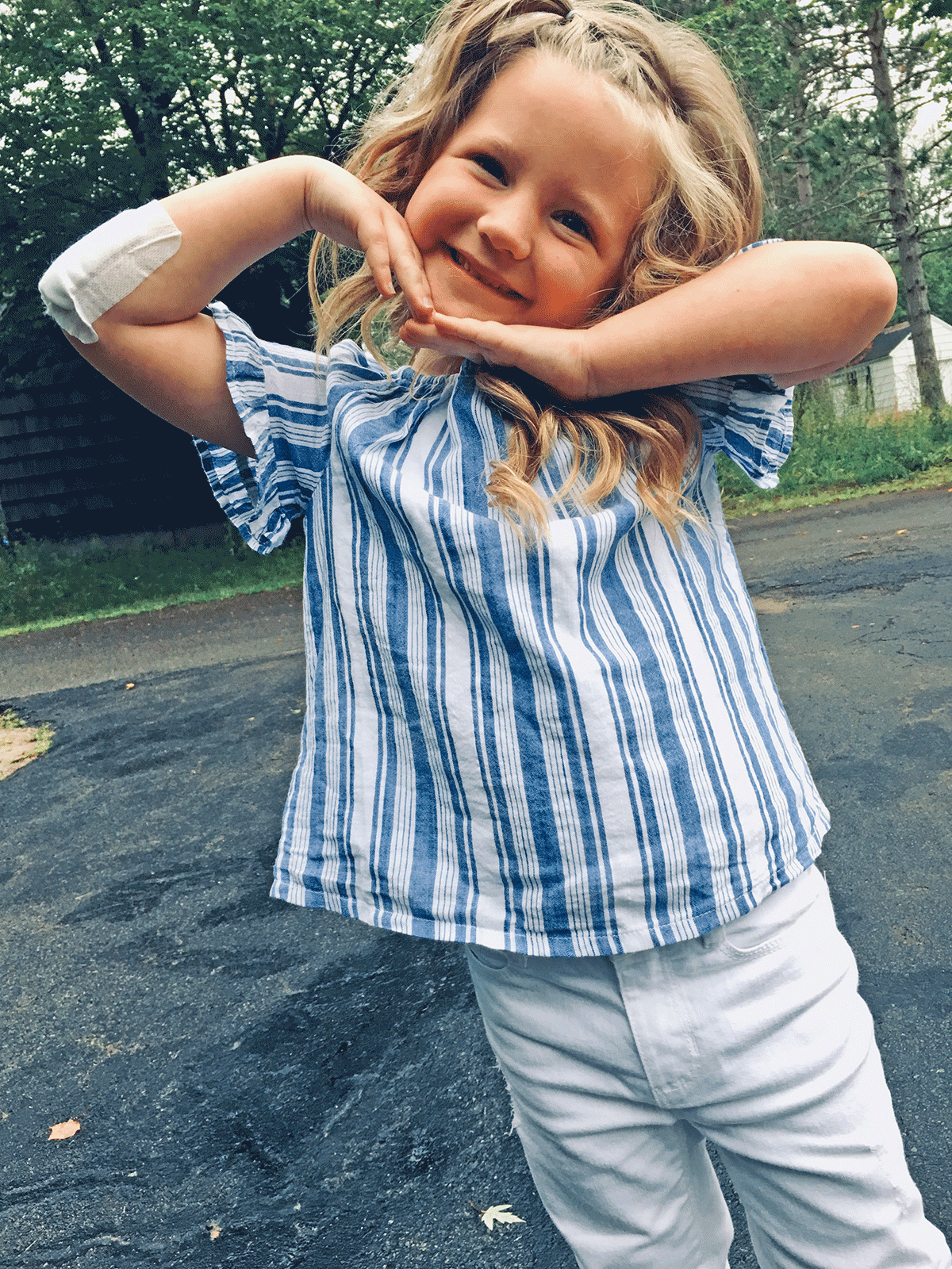 Ryelinn Schoff, 5, was excited for her first day back at Clifton-Fine Central School. Photo submitted by Chelsea Schoff.