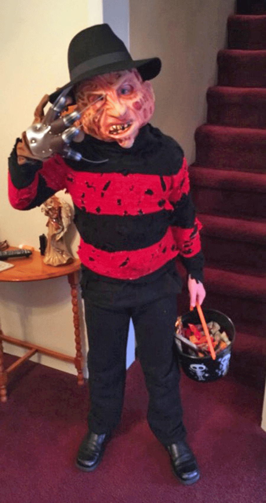 Seth Hammond, 9, Ogdensburg, dressed as Freddy Krueger during his night out searching for goodies on Halloween. Photo submitted by Bella Hammond.