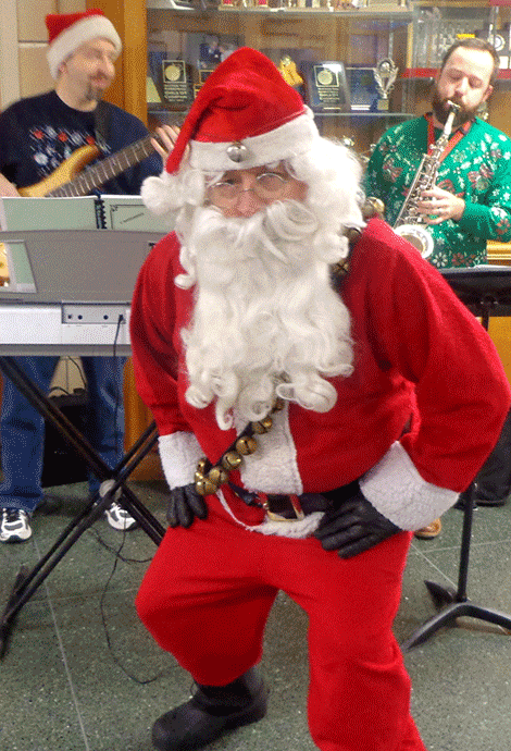 Students at Hermon-DeKalb were serenaded this morning by Santa and by the music teachers, Matt Gayle and Jonathan Pabis.