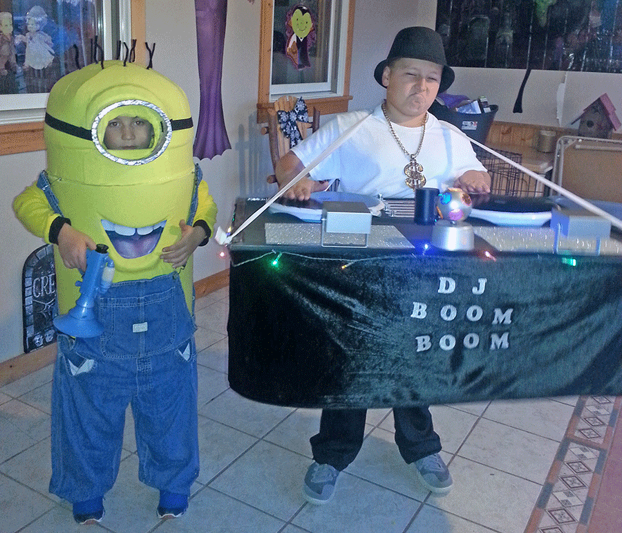 Ryley and Ryder Liscum of Heuvelton dressed up as a Minion and DJ Biggie Smalls. Photo submitted by Audrey Liscum.
