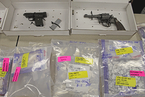 Various confiscated narcotics and firearms
