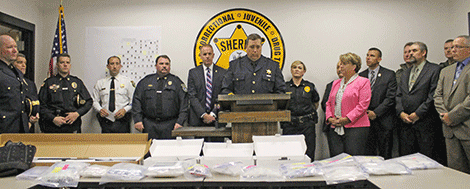 Sheriff Kevin Wells speaks at the Friday morning press conference