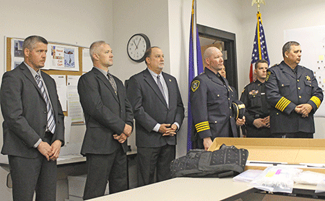 At right are Canton police Chief James Santamaw, Potsdam Chief Mark Murray and Sheriff Kevin Wells.