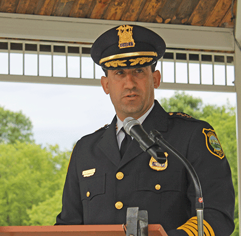 Chief Adam Love was among the speakers and said the police department continues to investigate local drug activity, even though many dealers were recently arrested.