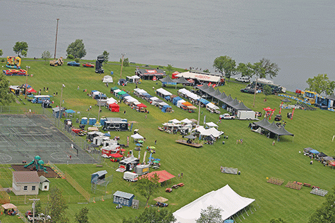 The Bassmaster Elite and Party in the Park is ready to go in Waddington. The photo was taken while getting a ride in the air from Adirondack Helicopter Tours, which are offering helicopter rides throughout the events.