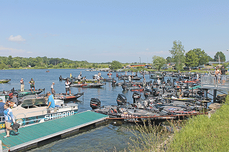 Dozens of boats crammed into Whittaker Park after a day of fishing.