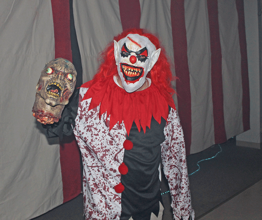 Above is one of the volunteer performers at the Halloween Haunt attraction in Massena.