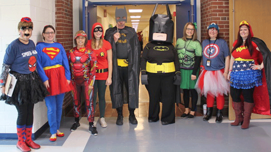 The staff at Lawrence Avenue Elementary School in Potsdam enjoyed dressing up to celebrate Halloween with the students.