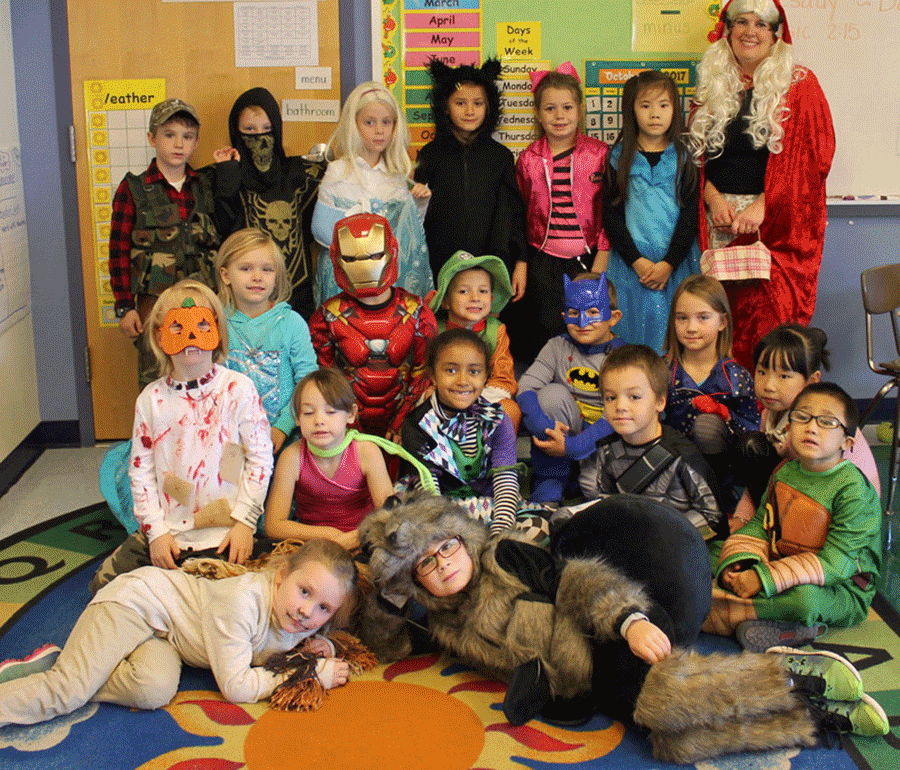Mrs. Cindi Wilmart's first grade class at Lawrence Avenue Elementary School had a variety of great costumes for their Halloween parade.