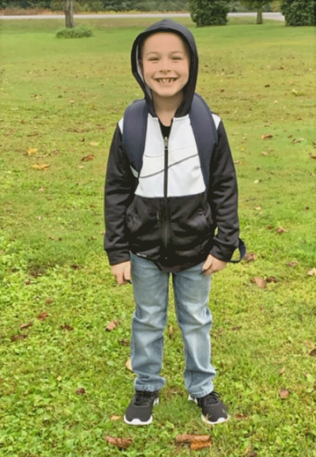 Cameron Villnave smiled proud for his first back to school at Madrid-Waddington Central. He will be entering first grade. Photo submitted by Janelle Dora.