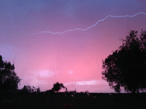 Twelve-year old Lacey Sullivan snapped this photo of lightning in Madrid during the storm.