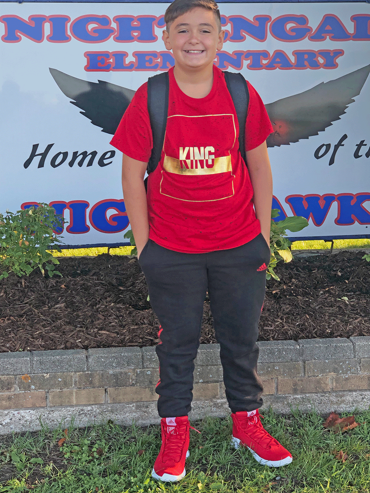 Jamesdyn Barse began his first day of sixth grade at Nightengale Elementary at Massena Central School. Photo submitted by Carisa Barse.
