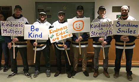 Members of the SUNY Canton men's hockey team made signs promoting kindness