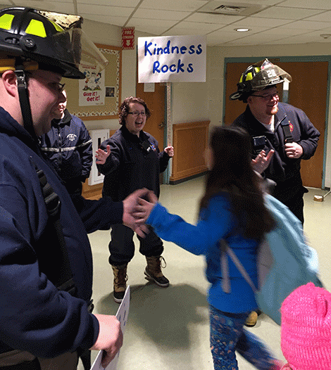 Students were greeted by rescue personnel