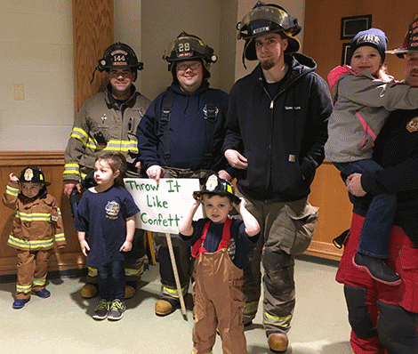 Firefighters mingle with youngsters