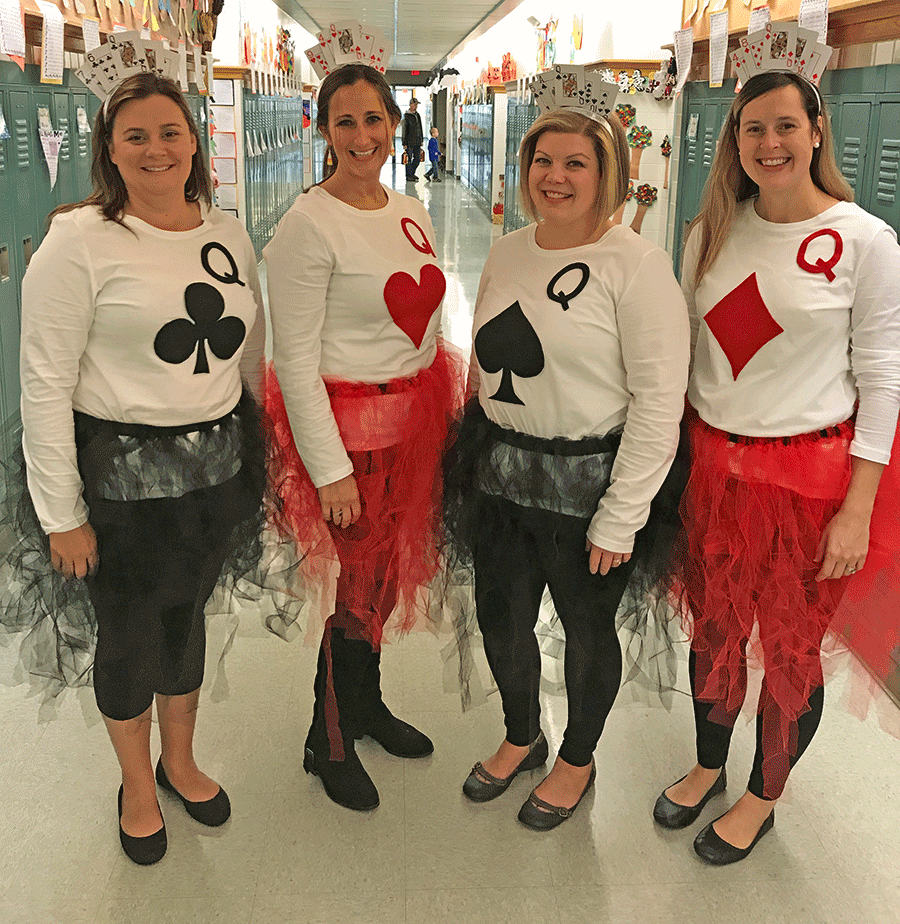 Fourth grade teachers at Norwood-Norfolk Elementary School dressed as a 'House of Cards' for the school's Halloween parade. From left, Angela Regan, Ashley Johnson, Brandi Akins and Sarah Bullard.