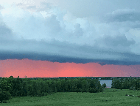 Alison Green captured this shot of pink skies in Norwood during the storm.