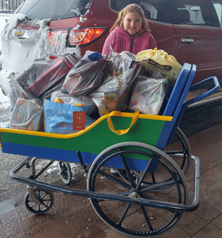 She gave toys, stuffed animals and kids' items to a cancer center in Burlington, Vt.