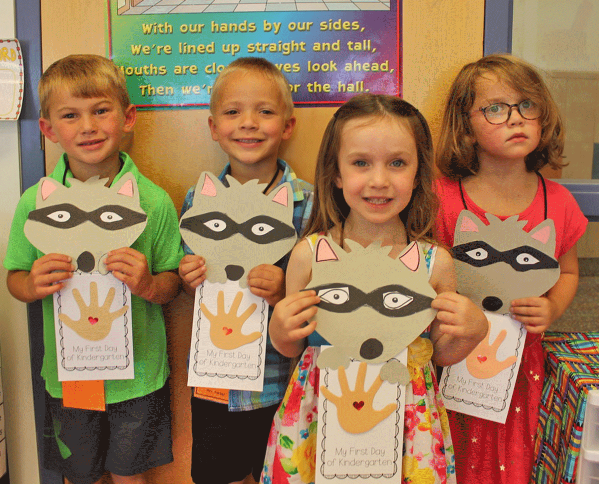 Lawrence Avenue kindergarten students AJ, Colin, Keely and Grace enjoyed a craft project on the first day of school at Potsdam Central. Photo submitted by Potsdam Central.