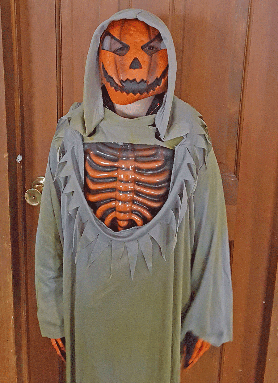 Andrew Burgess, 9, Ogdensburg dressed up as an evil pumpkin this year for Halloween. He is the son of Kelly Meunier.