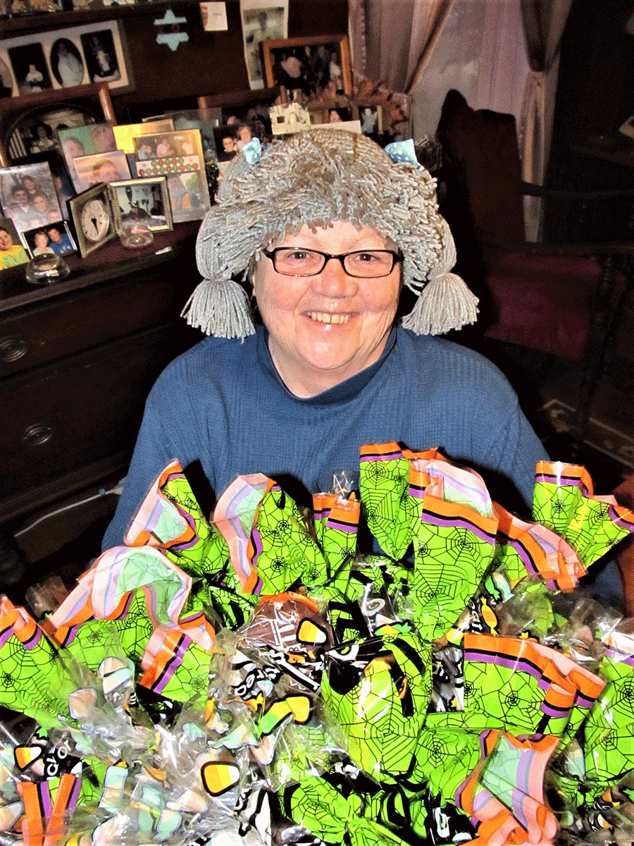 Sharon Dafoe of Richville ready for trick-or-treaters on Halloween night.