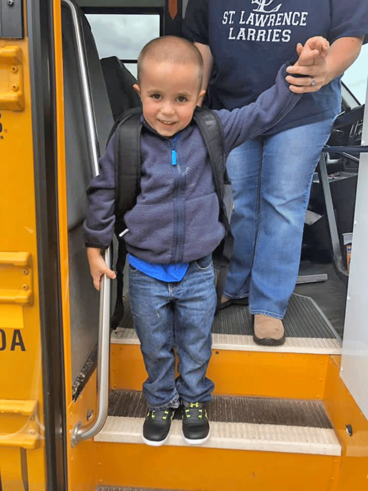 Marcus Richards, 4, boards the bus for his first day of pre-kindergarten at St. Lawrence Central. Photo submitted by Michelle Lucas.