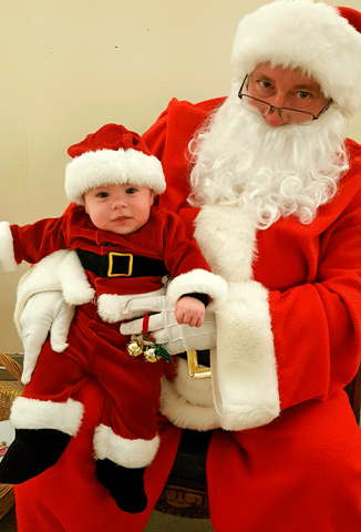 Santa recently visited the Ogdensburg Elks Lodge recently where he visited with more than 60 children.