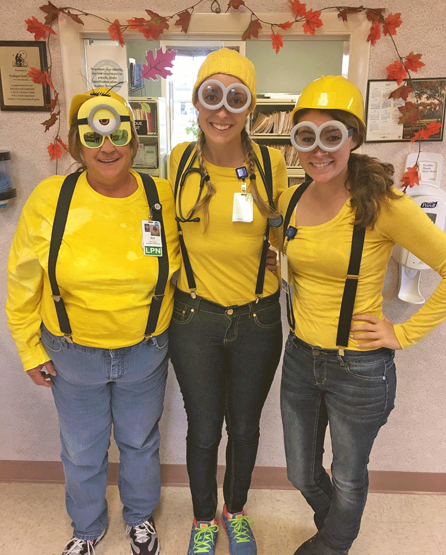 Waddington Health Center staff in Halloween costumes, from left, nurse Ann Wilson, provider Maggie Ecker and receptionist Megan Parmeter.