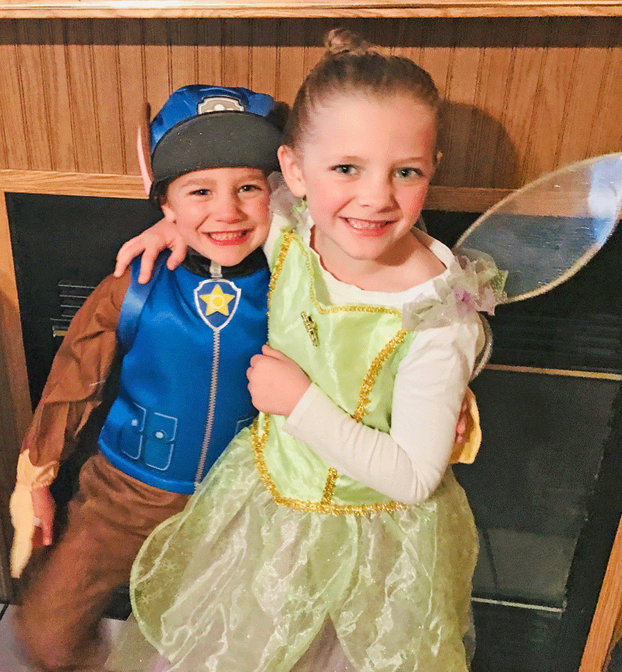 Above are siblings Nataleigh and Landen Gonyou having Halloween fun before school in Winthrop. Photo submitted by Haven LaBar.