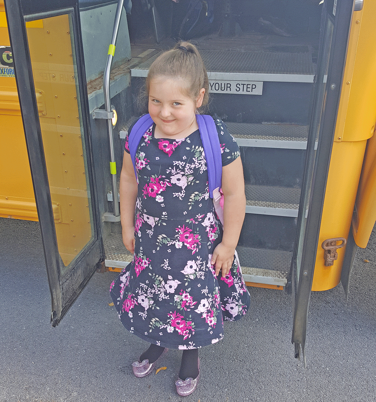 Kenleigh Northrop, 5, gets ready to board the bus on her first day of first grade at Gouveneur Elementary School. Photo submitted by Samantha Northrop.