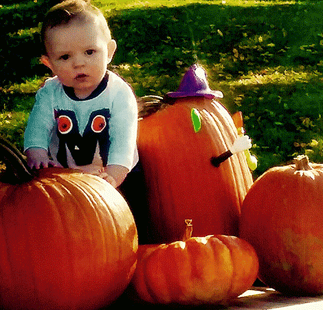 Grayson Daniel with his first pumpkin