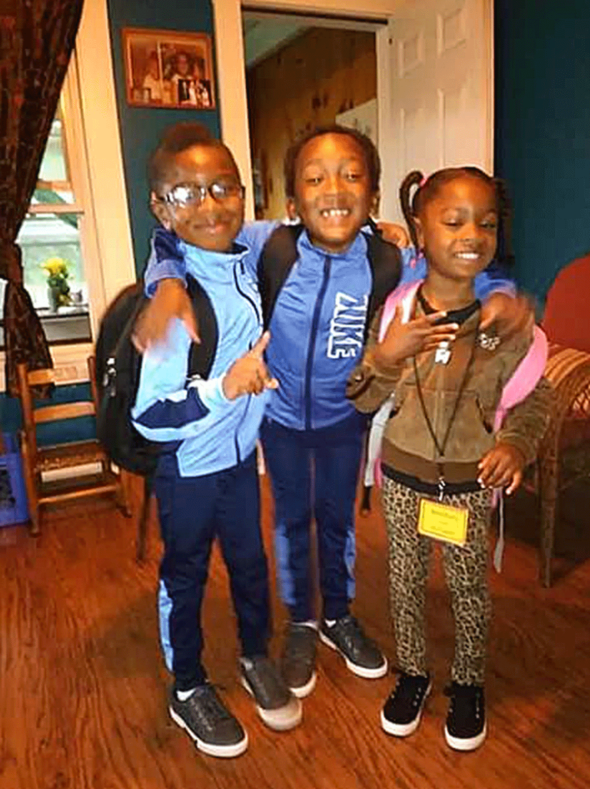 Noah Evans (first grade), Tre'Saiah Evans (third grade) and Sarah Evans (kindergarten), all of Lawrence Avenue Elementary School get ready for a new school year. Photo submitted by Jennifer Braxton.
