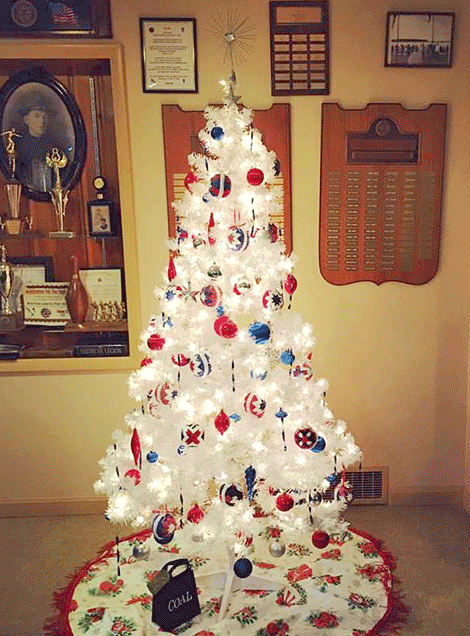Phylis Jock and Katelyn Bernard recently decorated this Christmas tree at the Champion-Kobkirk American Legion Post 420, Waddington.